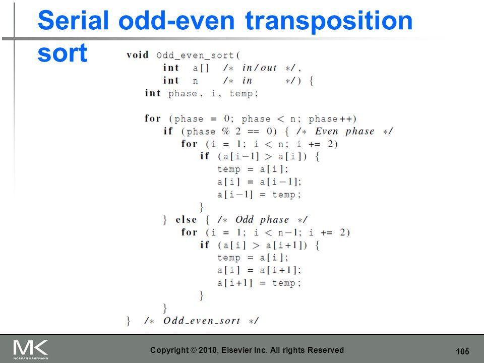 105 Serial odd-even transposition sort Copyright © 2010, Elsevier Inc. All rights Reserved