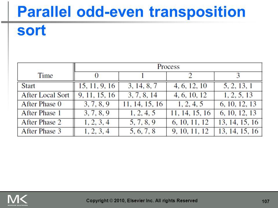 107 Parallel odd-even transposition sort Copyright © 2010, Elsevier Inc. All rights Reserved