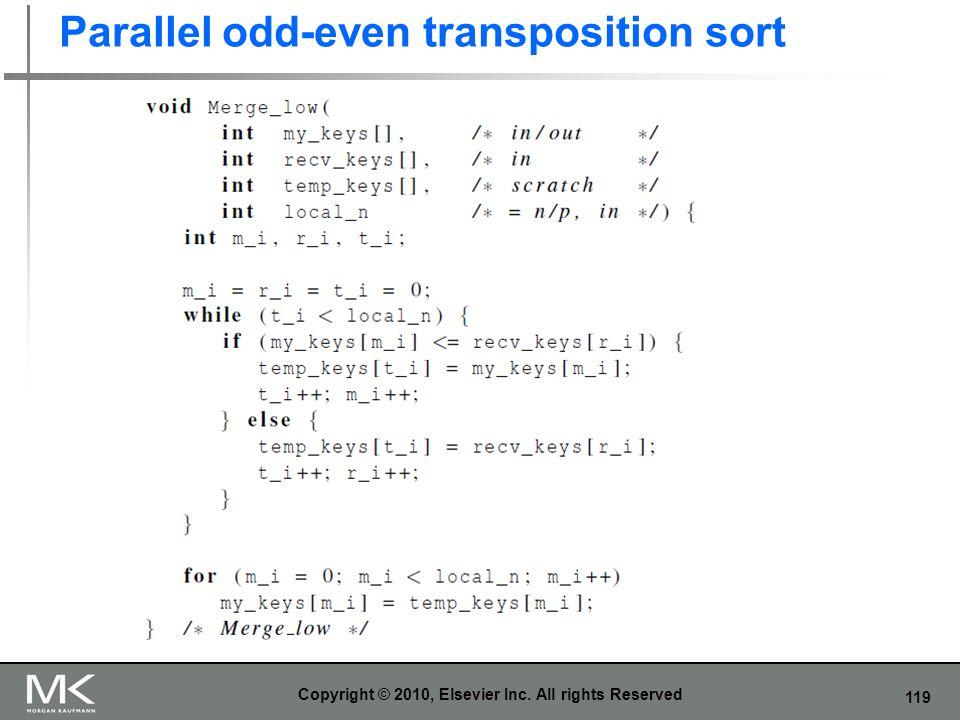119 Parallel odd-even transposition sort Copyright © 2010, Elsevier Inc. All rights Reserved