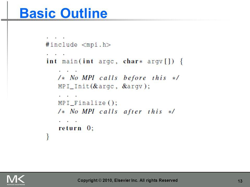 13 Basic Outline Copyright © 2010, Elsevier Inc. All rights Reserved