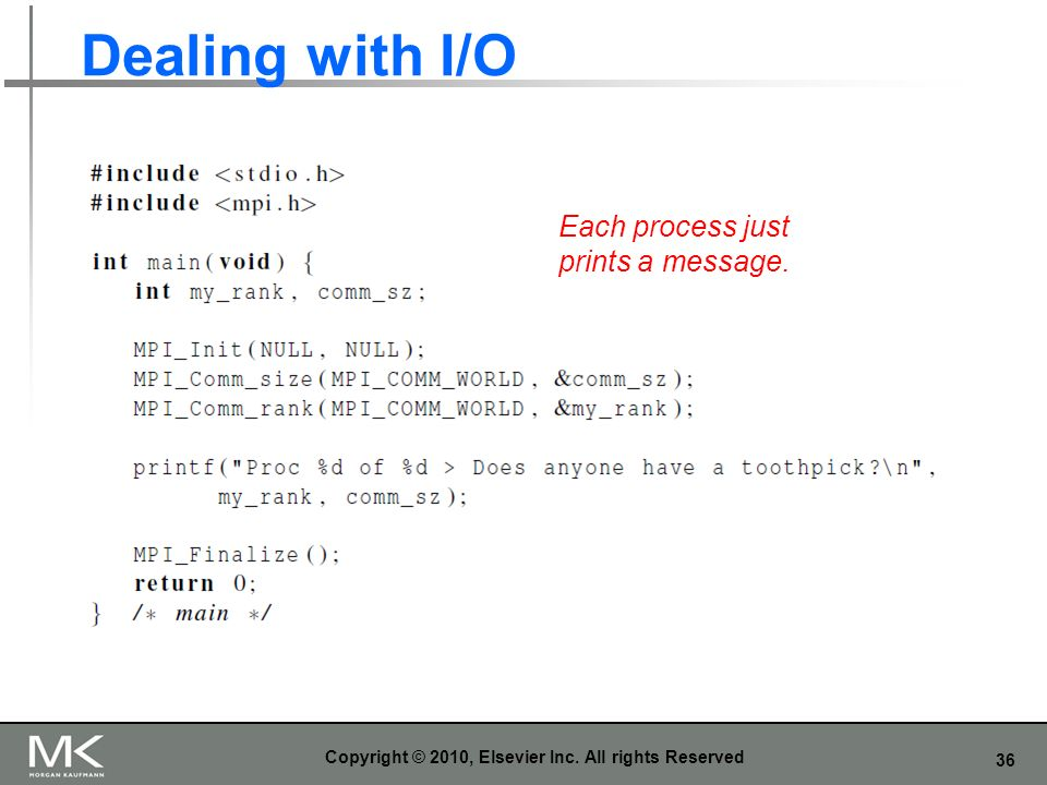 36 Dealing with I/O Copyright © 2010, Elsevier Inc. All rights Reserved Each process just prints a message.