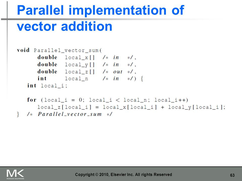 63 Parallel implementation of vector addition Copyright © 2010, Elsevier Inc. All rights Reserved