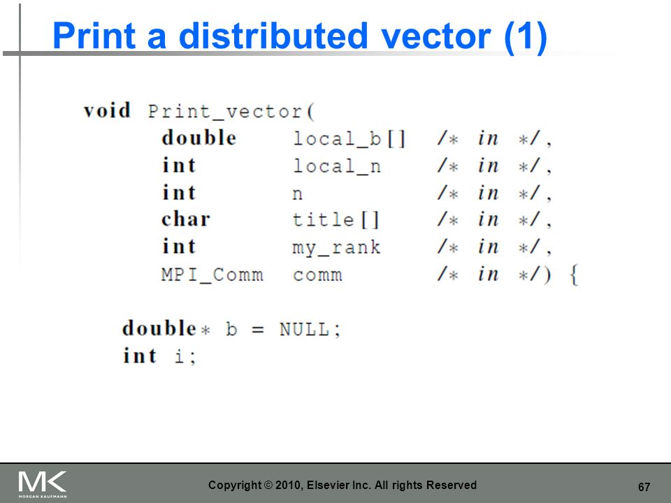 67 Print a distributed vector (1) Copyright © 2010, Elsevier Inc. All rights Reserved