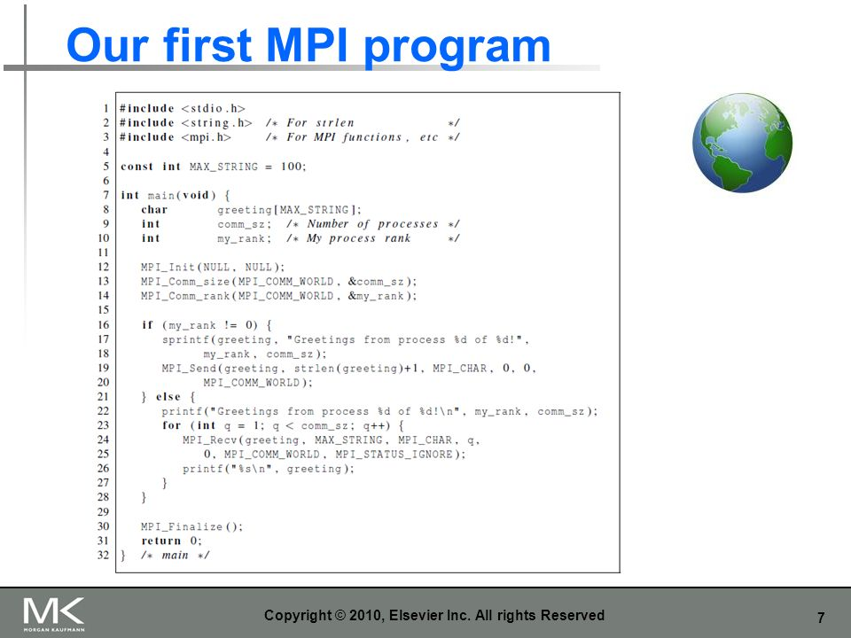 7 Our first MPI program Copyright © 2010, Elsevier Inc. All rights Reserved