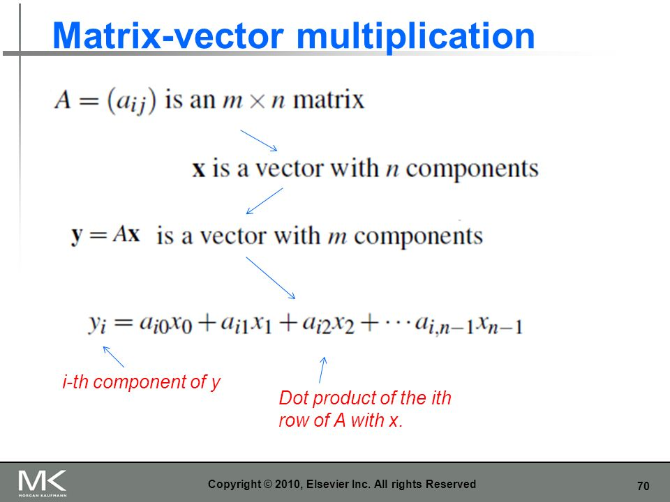 70 Matrix-vector multiplication Copyright © 2010, Elsevier Inc. All rights Reserved i-th component of y Dot product of the ith row of A with x.