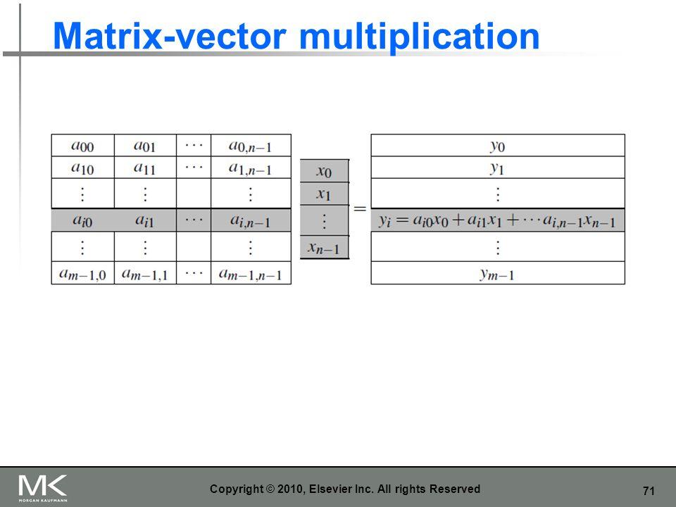 71 Matrix-vector multiplication Copyright © 2010, Elsevier Inc. All rights Reserved