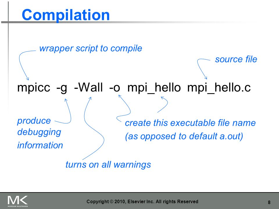 8 Compilation Copyright © 2010, Elsevier Inc. All rights Reserved mpicc -g -Wall -o mpi_hello mpi_hello.c wrapper script to compile turns on all warni