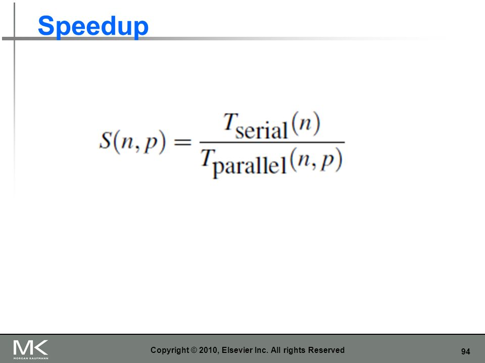 94 Speedup Copyright © 2010, Elsevier Inc. All rights Reserved