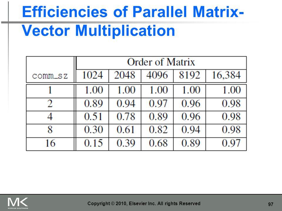97 Efficiencies of Parallel Matrix- Vector Multiplication Copyright © 2010, Elsevier Inc. All rights Reserved