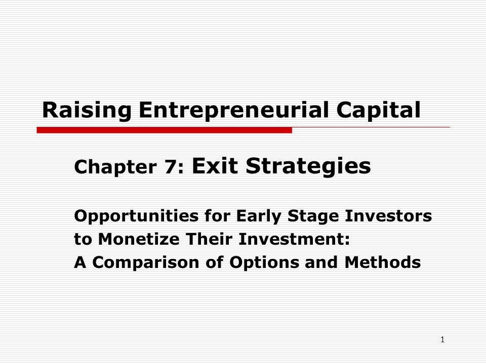 1 Raising Entrepreneurial Capital Chapter 7: Exit Strategies Opportunities for Early Stage Investors to Monetize Their Investment: A Comparison of Opt