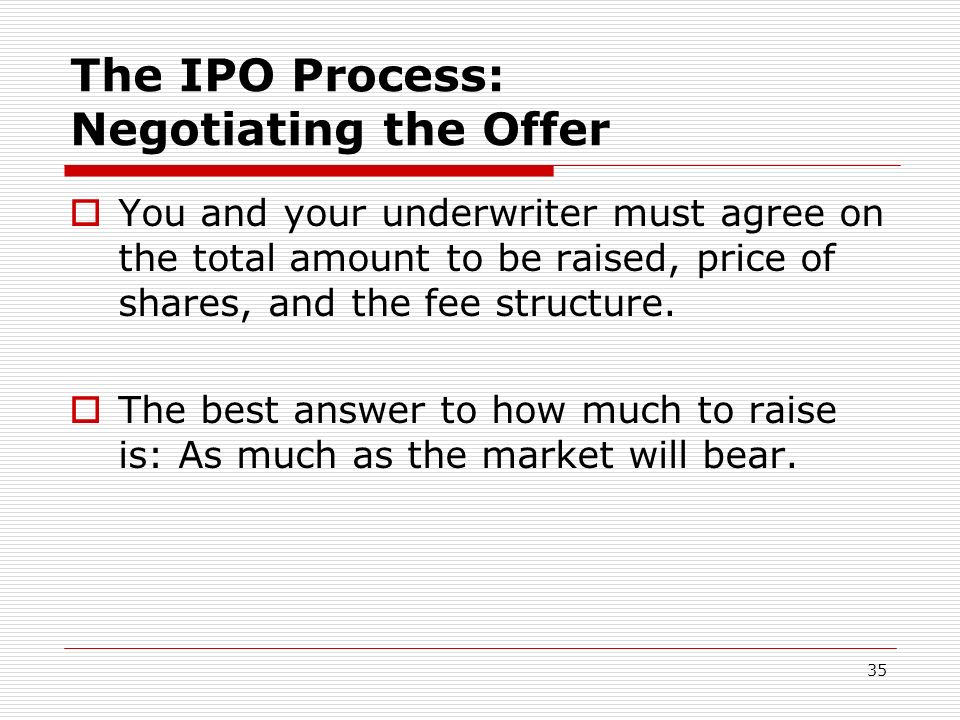 35 The IPO Process: Negotiating the Offer You and your underwriter must agree on the total amount to be raised, price of shares, and the fee structure