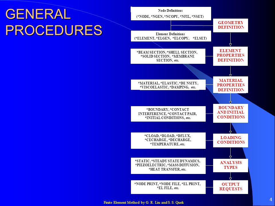 Finite Element Method by G. R. Liu and S. S. Quek 4 GENERAL PROCEDURES Node Definitions (*NODE, *NGEN, *NCOPY, *NFIL, *NSET) Element Definitions (*ELE