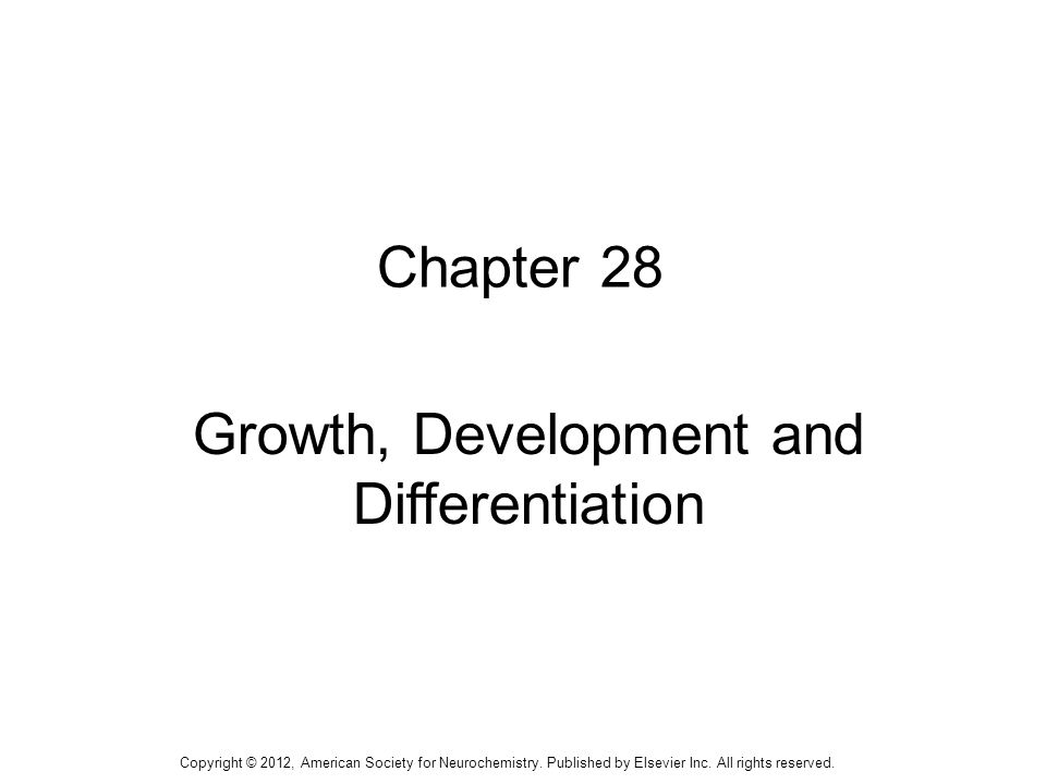 1 Chapter 28 Growth, Development and Differentiation Copyright © 2012, American Society for Neurochemistry. Published by Elsevier Inc. All rights rese