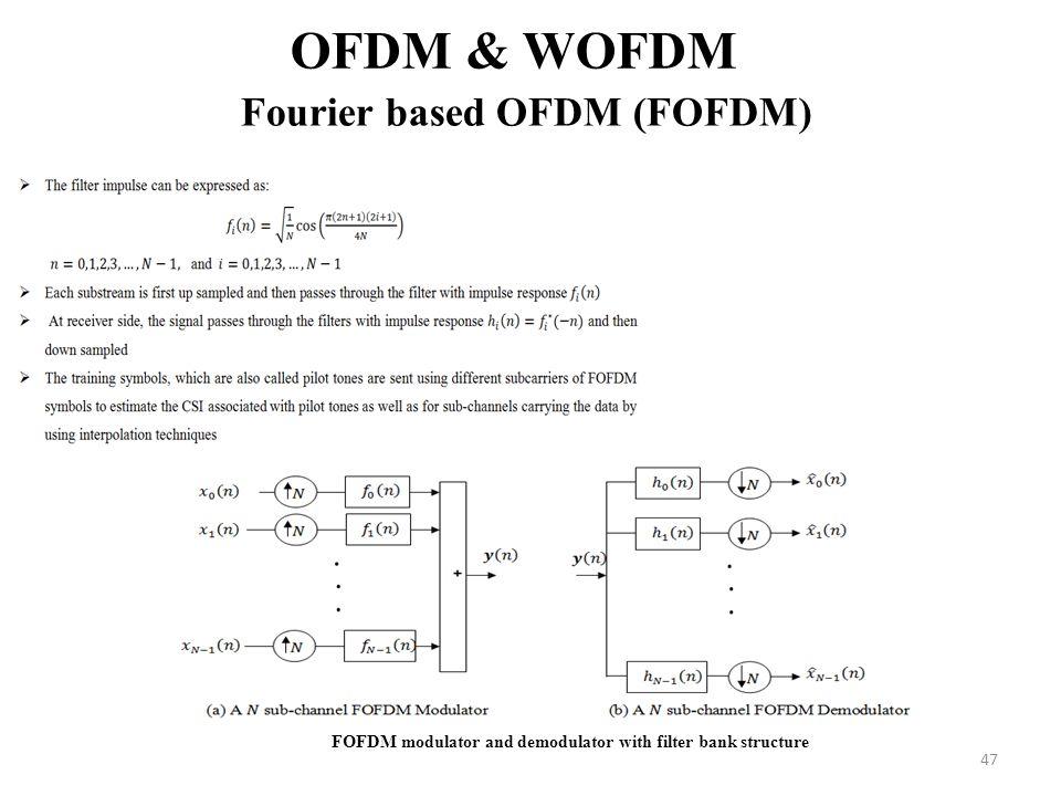 47 OFDM & WOFDM Fourier based OFDM (FOFDM) FOFDM modulator and demodulator with filter bank structure