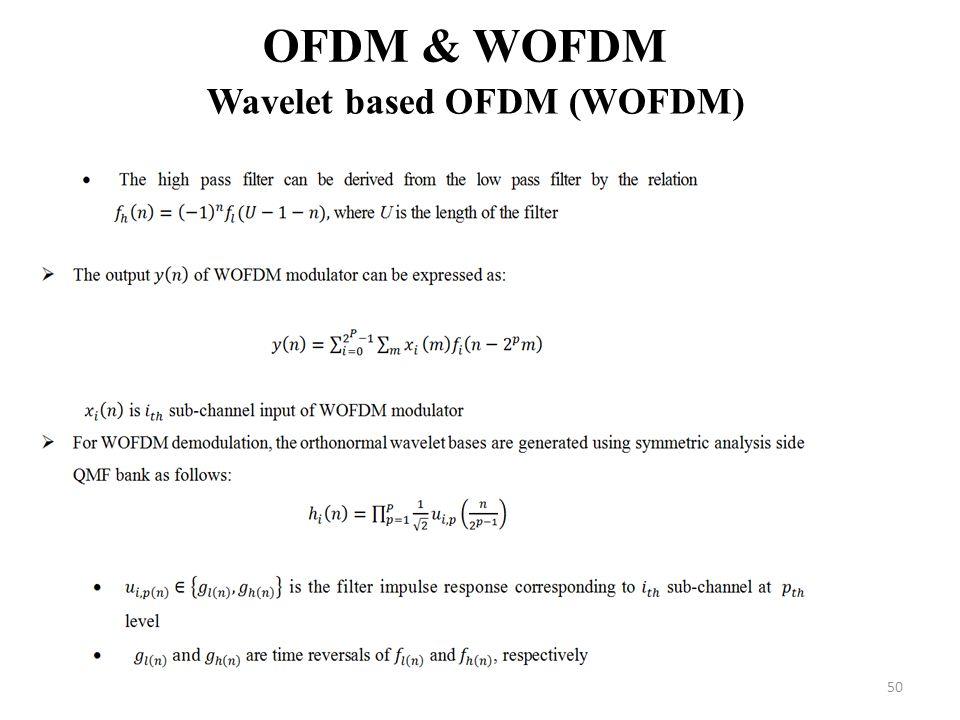 50 OFDM & WOFDM Wavelet based OFDM (WOFDM)