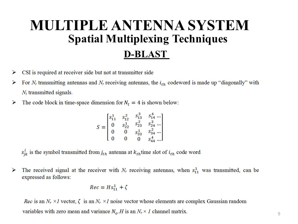 9 MULTIPLE ANTENNA SYSTEM Spatial Multiplexing Techniques D-BLAST,