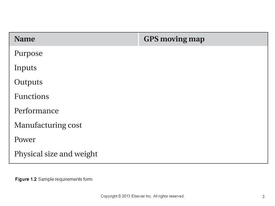 3 Copyright © 2013 Elsevier Inc. All rights reserved. Figure 1.2 Sample requirements form.