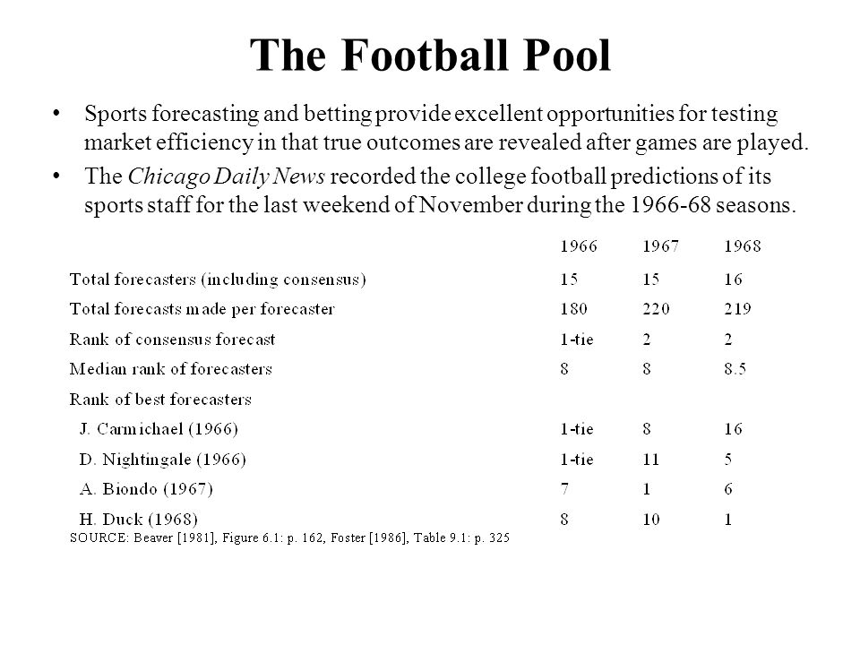 The Football Pool Sports forecasting and betting provide excellent opportunities for testing market efficiency in that true outcomes are revealed after games are played.