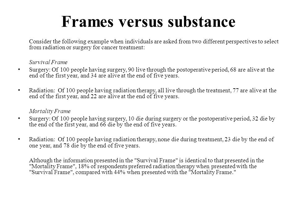 Frames versus substance Consider the following example when individuals are asked from two different perspectives to select from radiation or surgery for cancer treatment: Survival Frame Surgery: Of 100 people having surgery, 90 live through the postoperative period, 68 are alive at the end of the first year, and 34 are alive at the end of five years.