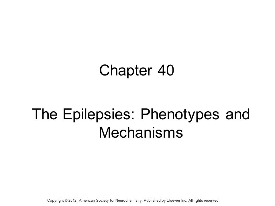 1 Chapter 40 The Epilepsies: Phenotypes and Mechanisms Copyright © 2012, American Society for Neurochemistry.