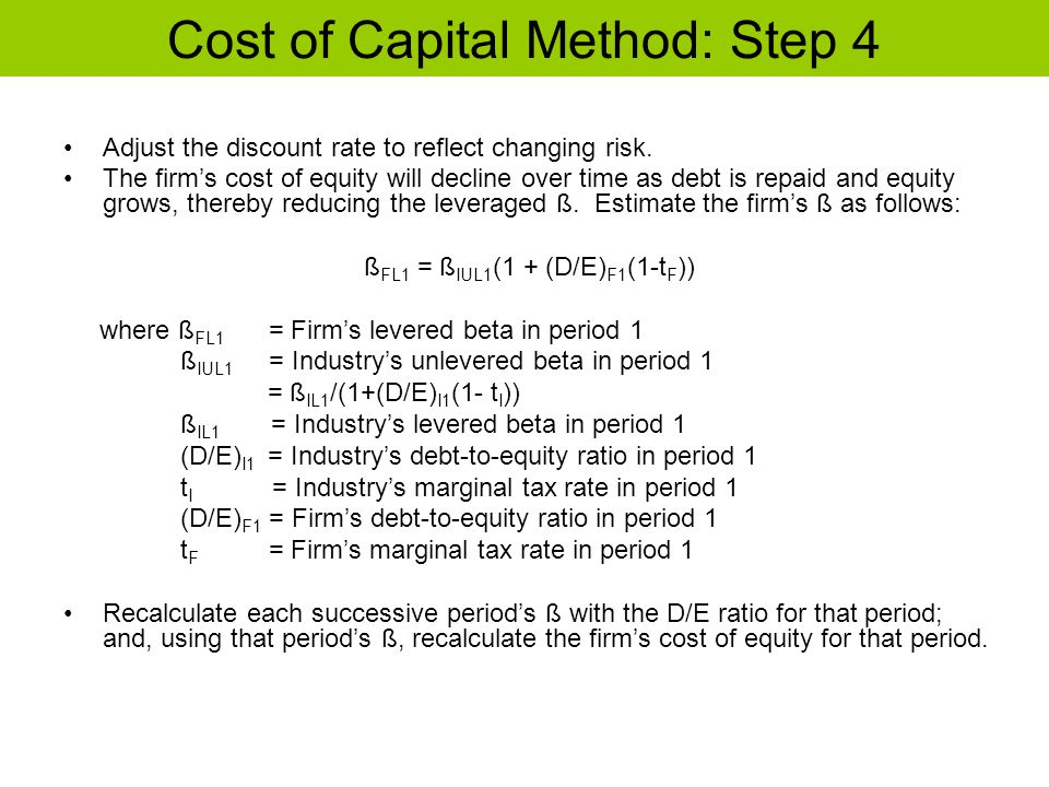 Cost of Capital Method: Step 4 Adjust the discount rate to reflect changing risk. The firms cost of equity will decline over time as debt is repaid an