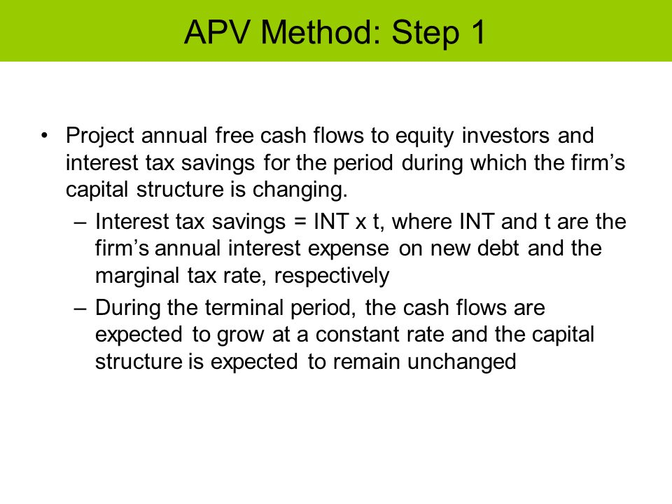 APV Method: Step 1 Project annual free cash flows to equity investors and interest tax savings for the period during which the firms capital structure