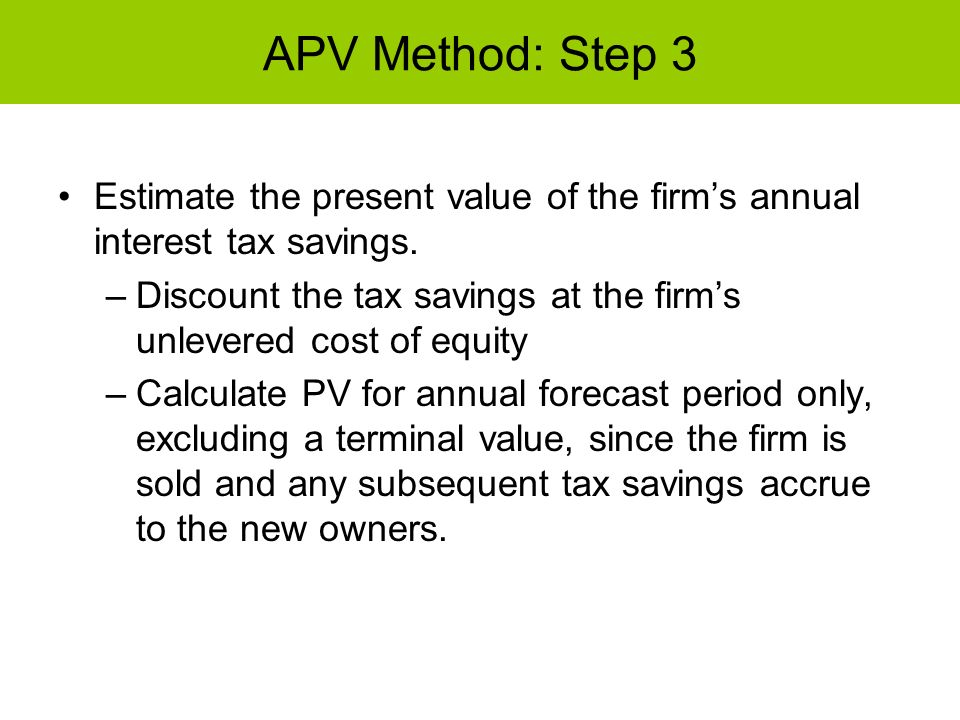 APV Method: Step 3 Estimate the present value of the firms annual interest tax savings. –Discount the tax savings at the firms unlevered cost of equit
