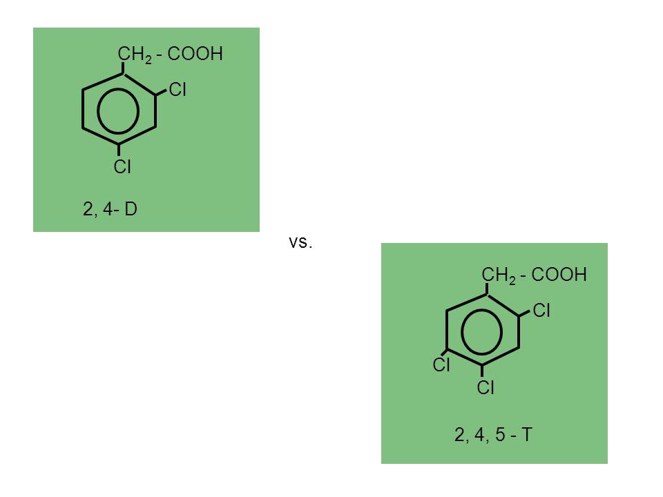 CH 2 - COOH Cl CH 2 - COOH Cl 2, 4- D 2, 4, 5 - T vs.
