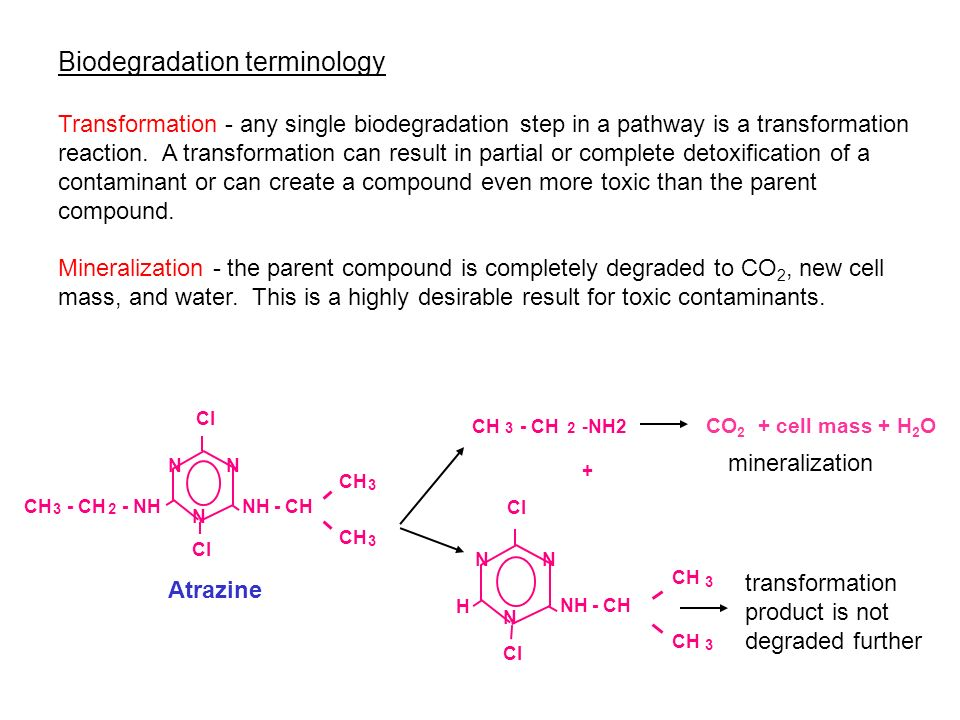 Biodegradation terminology Transformation - any single biodegradation step in a pathway is a transformation reaction. A transformation can result in p