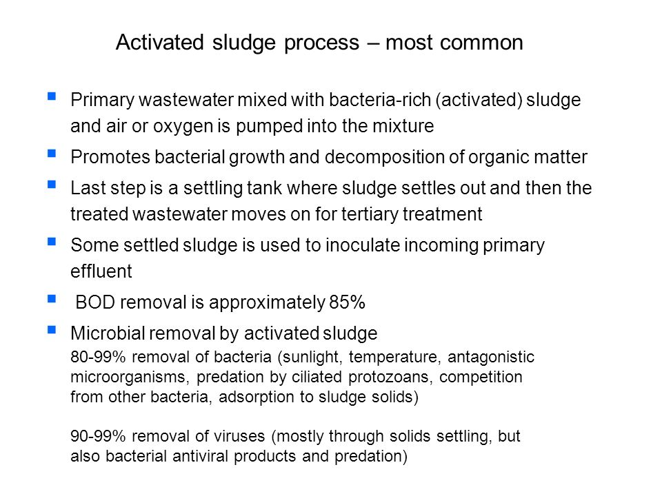 Activated sludge process – most common Primary wastewater mixed with bacteria-rich (activated) sludge and air or oxygen is pumped into the mixture Pro