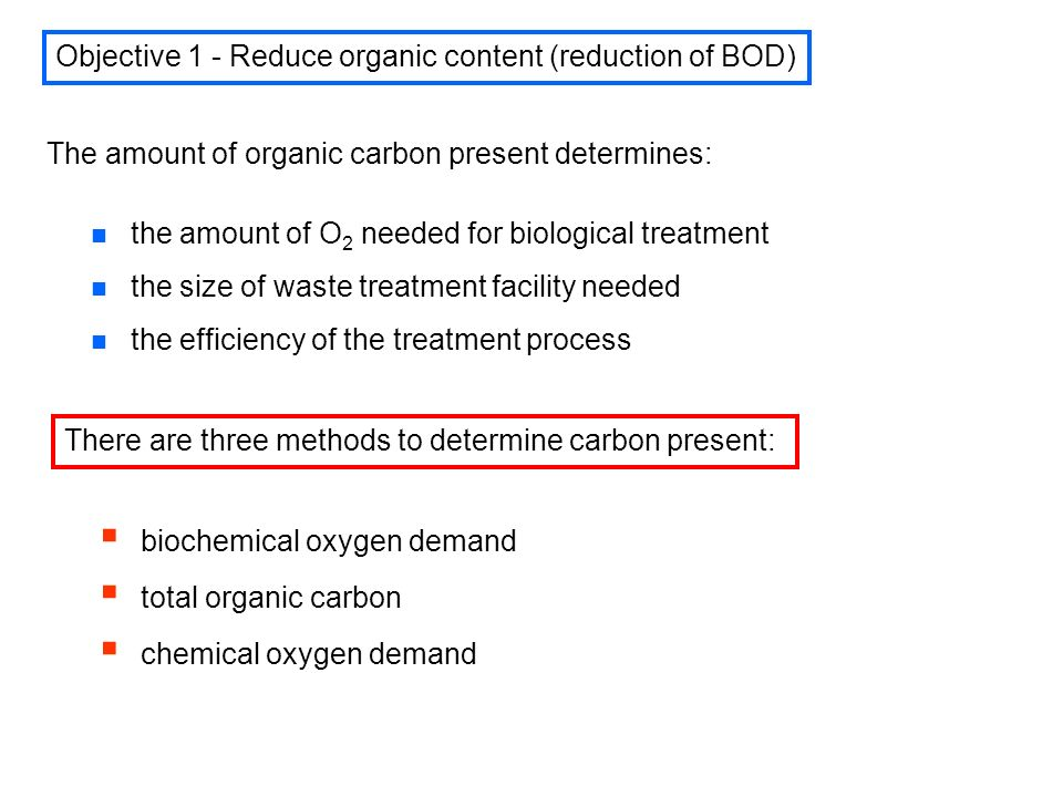 Biochemical Oxygen Demand (BOD) n n Definition: The amount of dissolved oxygen utilized by microbes for the biochemical oxidation of organic (carbonaceous BOD) and inorganic (autotrophic or nitrogenous BOD) n The BOD test was developed in 1930s.