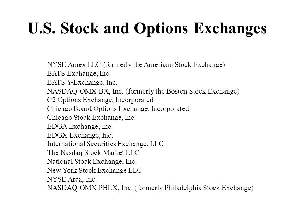 U.S. Stock and Options Exchanges NYSE Amex LLC (formerly the American Stock Exchange) BATS Exchange, Inc. BATS Y-Exchange, Inc. NASDAQ OMX BX, Inc. (f