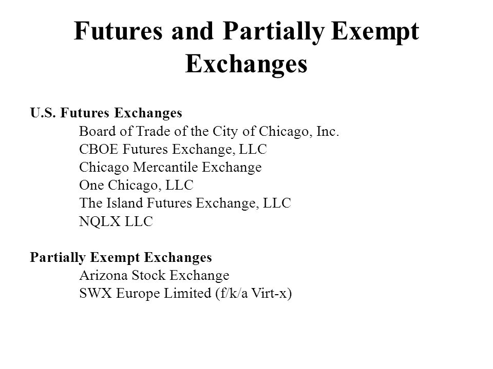 Futures and Partially Exempt Exchanges U.S. Futures Exchanges Board of Trade of the City of Chicago, Inc. CBOE Futures Exchange, LLC Chicago Mercantil
