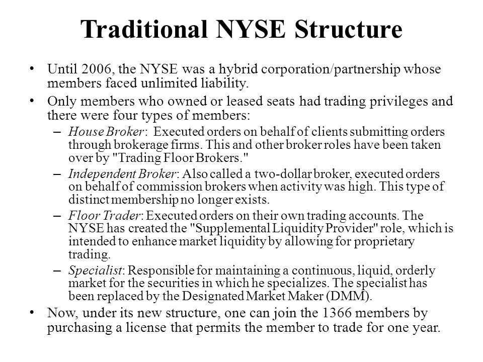 Traditional NYSE Structure Until 2006, the NYSE was a hybrid corporation/partnership whose members faced unlimited liability. Only members who owned o