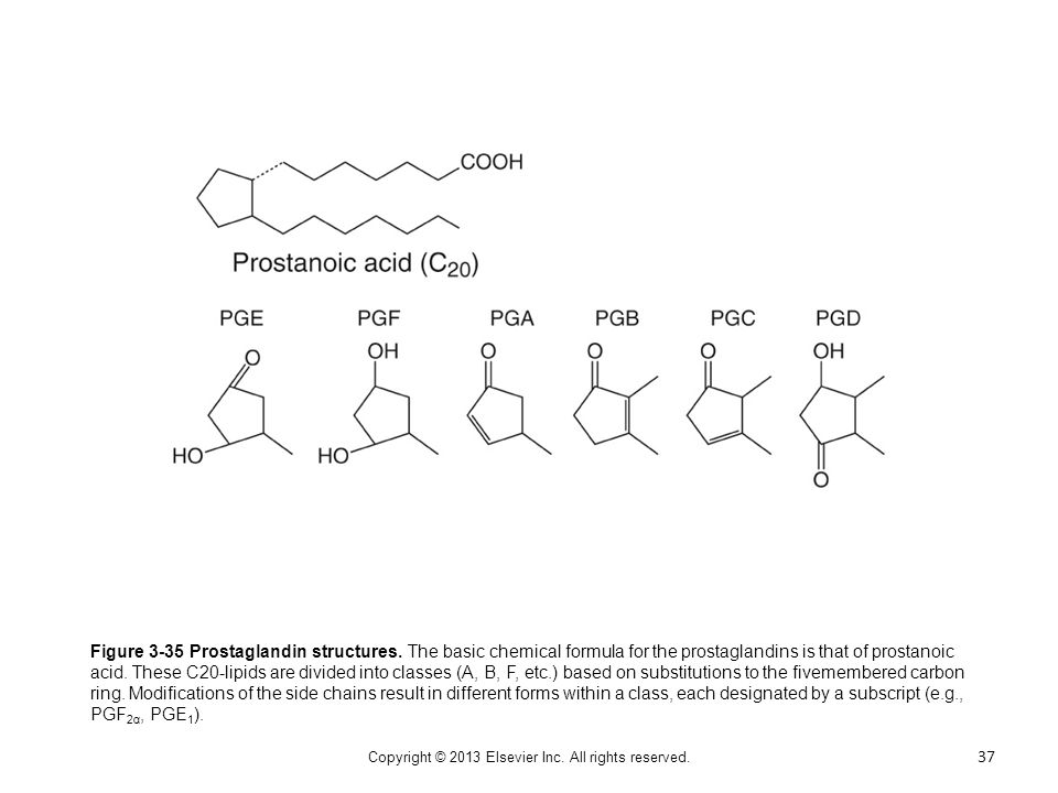 Figure 3-35 Prostaglandin structures. The basic chemical formula for the prostaglandins is that of prostanoic acid. These C20-lipids are divided into