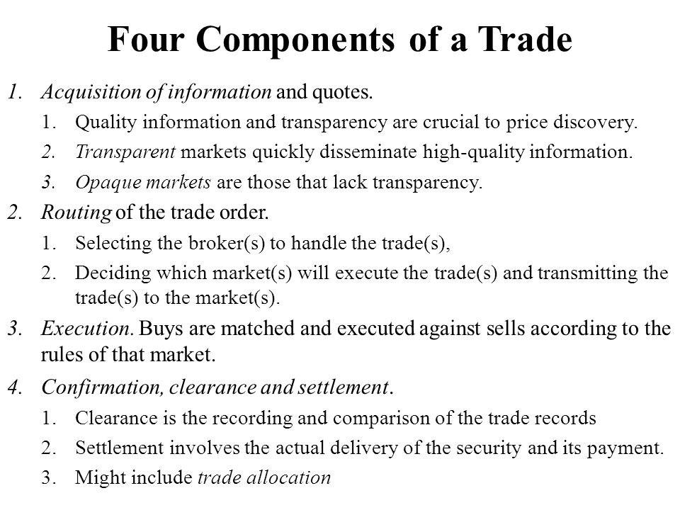 Four Components of a Trade 1.Acquisition of information and quotes.