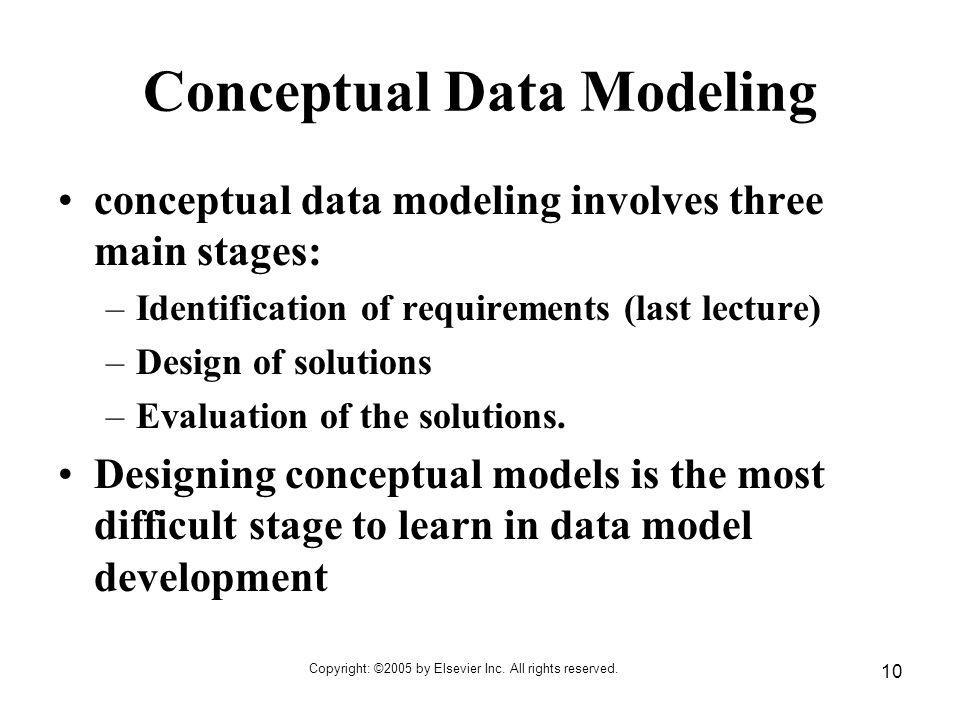 Copyright: ©2005 by Elsevier Inc. All rights reserved. 10 Conceptual Data Modeling conceptual data modeling involves three main stages: –Identificatio