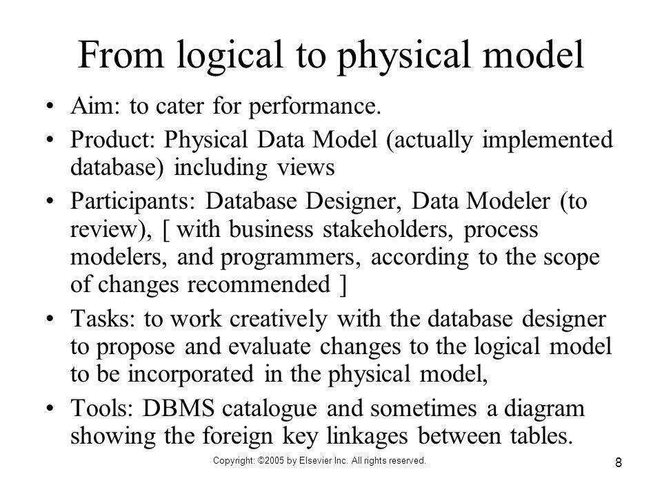 Copyright: ©2005 by Elsevier Inc. All rights reserved. 8 From logical to physical model Aim: to cater for performance. Product: Physical Data Model (a