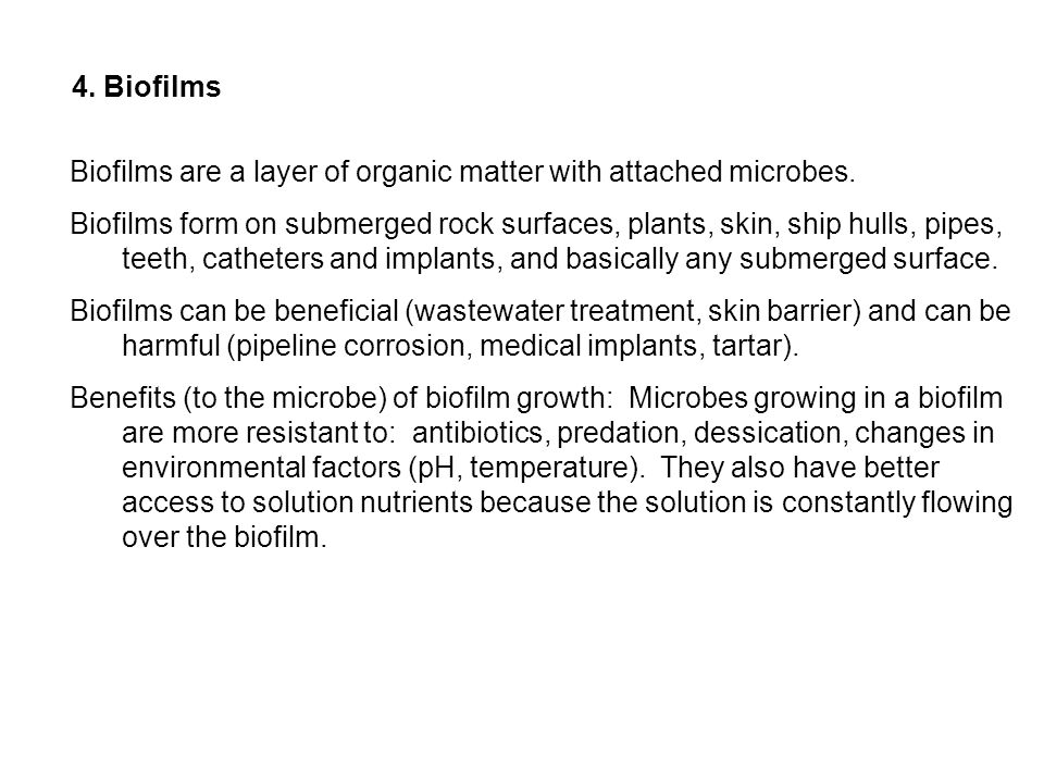 Biofilms are a layer of organic matter with attached microbes. Biofilms form on submerged rock surfaces, plants, skin, ship hulls, pipes, teeth, cathe