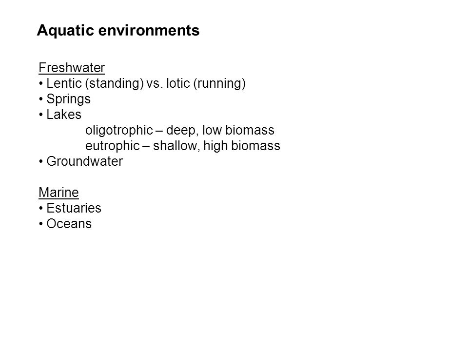 Freshwater Lentic (standing) vs. lotic (running) Springs Lakes oligotrophic – deep, low biomass eutrophic – shallow, high biomass Groundwater Marine E