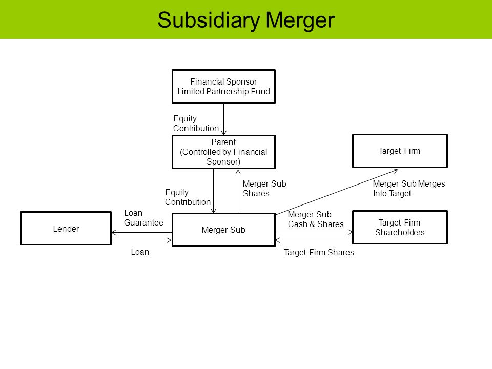 Subsidiary Merger Financial Sponsor Limited Partnership Fund Parent (Controlled by Financial Sponsor) Lender Target Firm Target Firm Shareholders Merg
