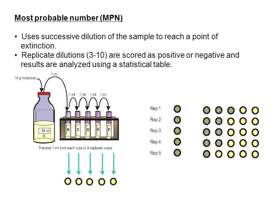 Most probable number (MPN) Uses successive dilution of the sample to reach a point of extinction.