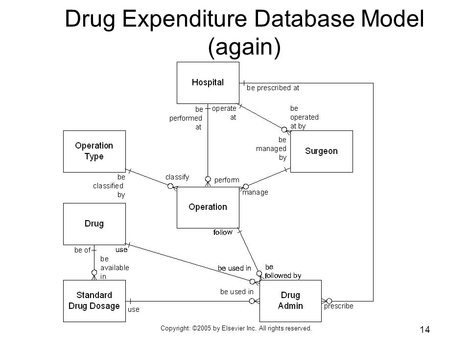 Copyright: ©2005 by Elsevier Inc. All rights reserved. 14 Drug Expenditure Database Model (again)