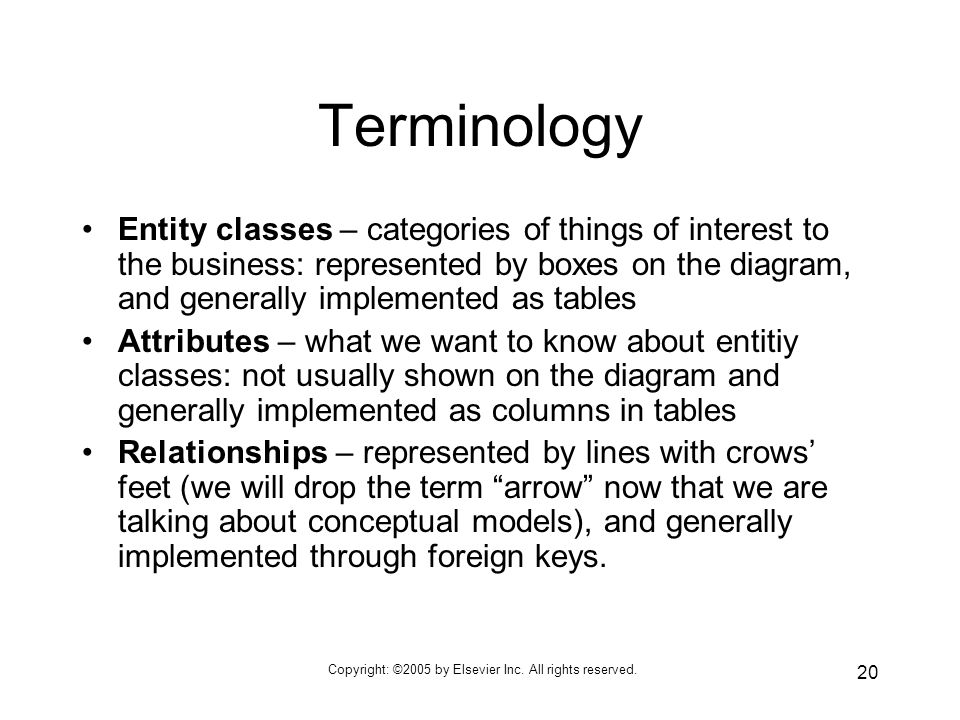 Copyright: ©2005 by Elsevier Inc. All rights reserved. 20 Terminology Entity classes – categories of things of interest to the business: represented b