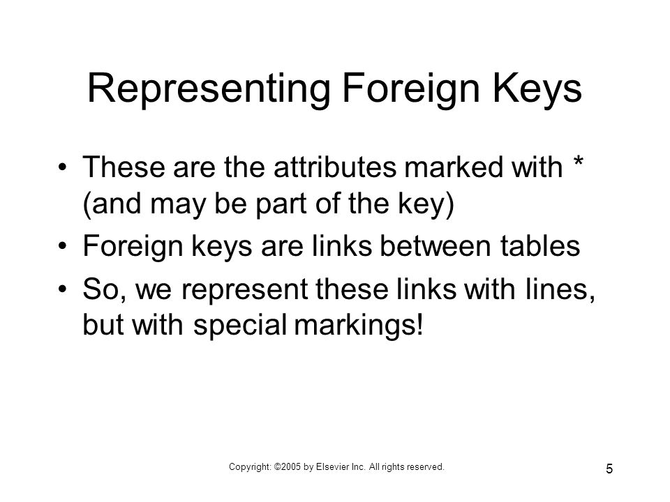 Copyright: ©2005 by Elsevier Inc. All rights reserved. 5 Representing Foreign Keys These are the attributes marked with * (and may be part of the key)