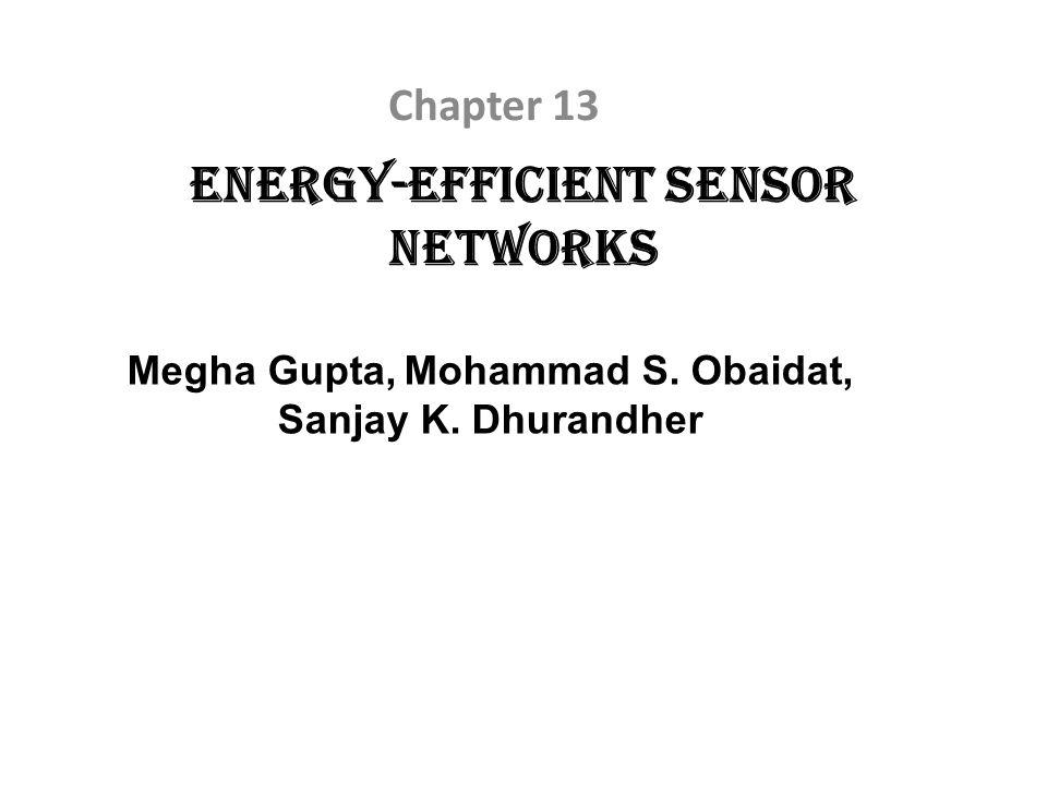 Energy-Efficient Sensor Networks Chapter 13 Megha Gupta, Mohammad S. Obaidat, Sanjay K. Dhurandher