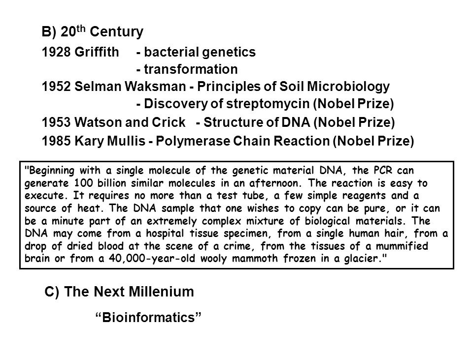B) 20 th Century 1928 Griffith- bacterial genetics - transformation 1952 Selman Waksman - Principles of Soil Microbiology - Discovery of streptomycin (Nobel Prize) 1953 Watson and Crick - Structure of DNA (Nobel Prize) 1985 Kary Mullis - Polymerase Chain Reaction (Nobel Prize) C) The Next Millenium Bioinformatics Beginning with a single molecule of the genetic material DNA, the PCR can generate 100 billion similar molecules in an afternoon.