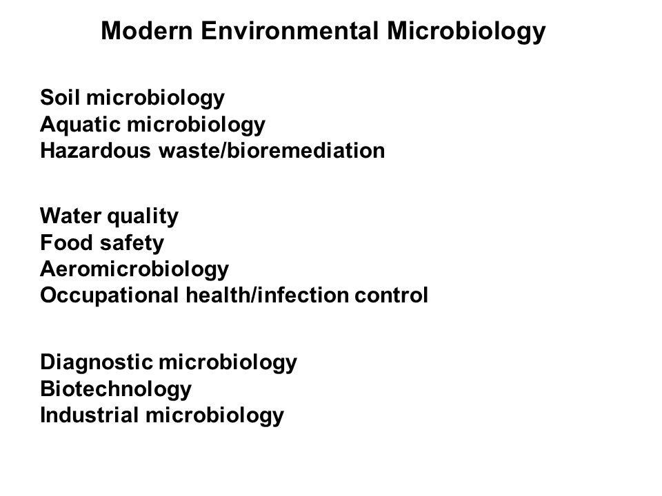 Modern Environmental Microbiology Soil microbiology Aquatic microbiology Hazardous waste/bioremediation Water quality Food safety Aeromicrobiology Occ