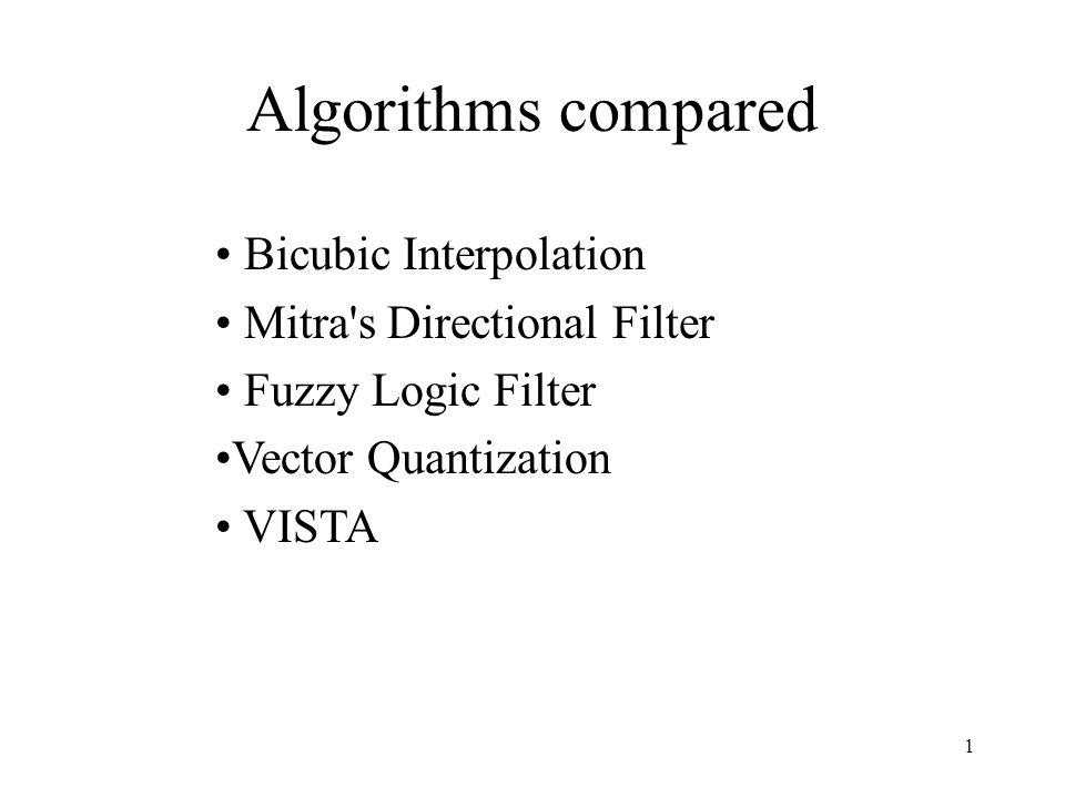1 Algorithms compared Bicubic Interpolation Mitra's Directional Filter Fuzzy Logic Filter Vector Quantization VISTA