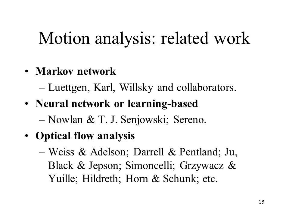 15 Motion analysis: related work Markov network –Luettgen, Karl, Willsky and collaborators. Neural network or learning-based –Nowlan & T. J. Senjowski